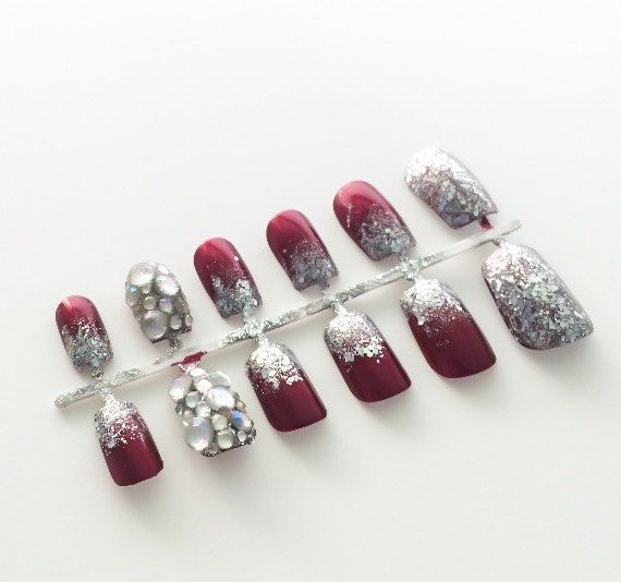 Red Fake Nail Ombre False Nail Glitter Acrylic by LetThemSparkle