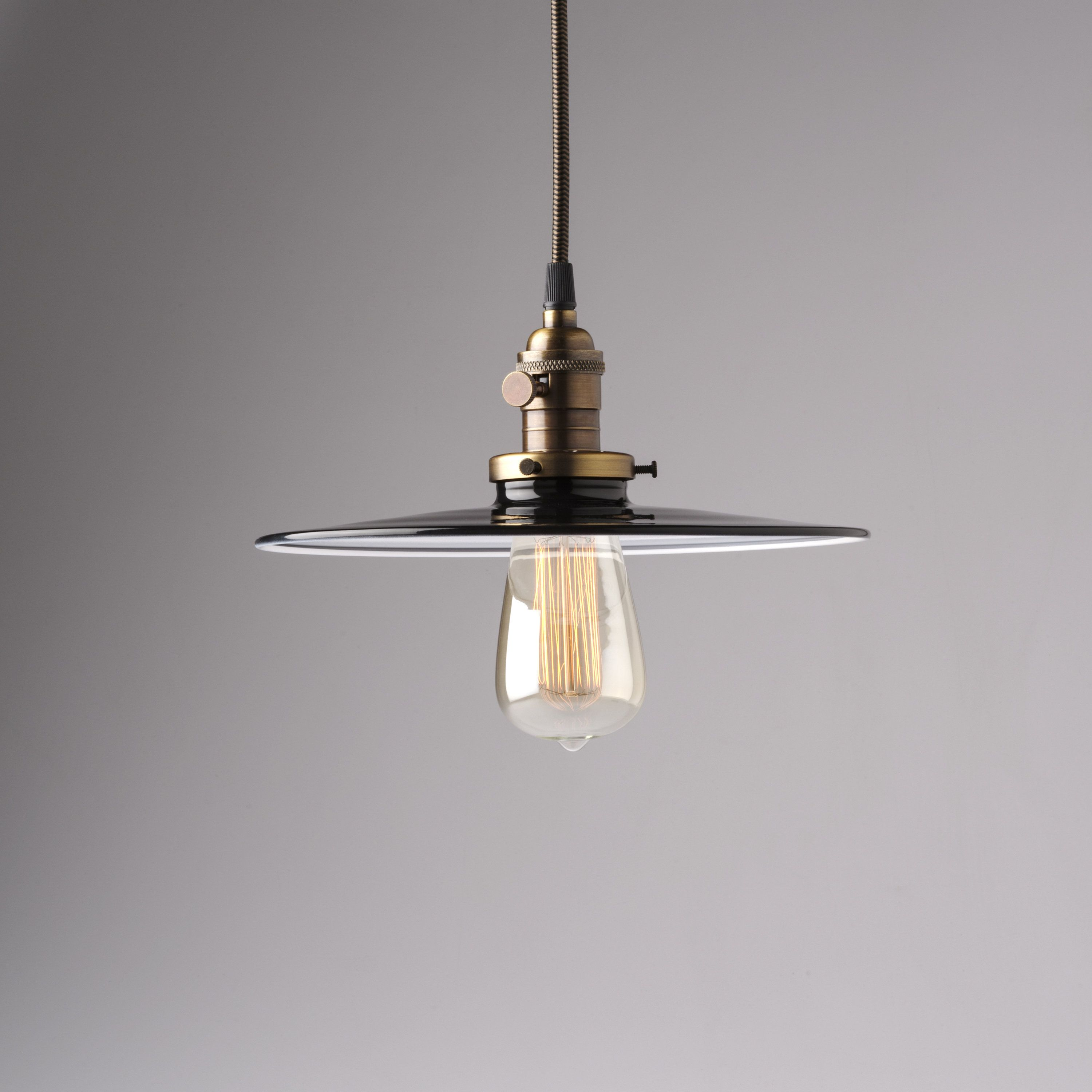 10 Industrial Pendant Light Fixture With Black Flat Metal Shade