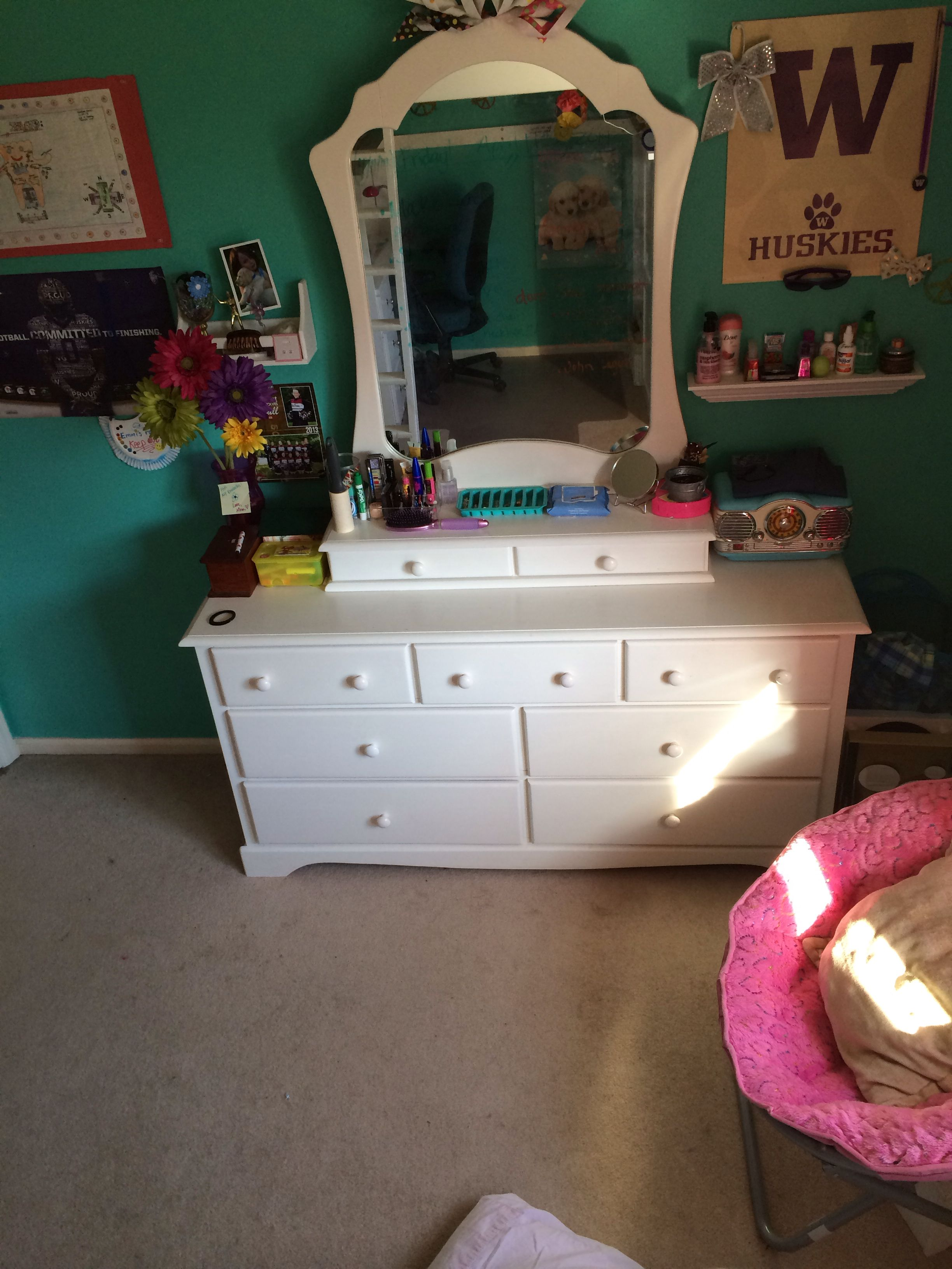 Homemade vanity out of an old dresser!
