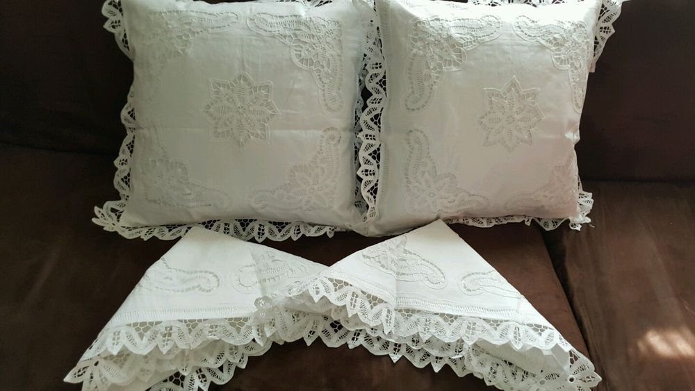Battenburg Lace Pillow Covers- Set of Four