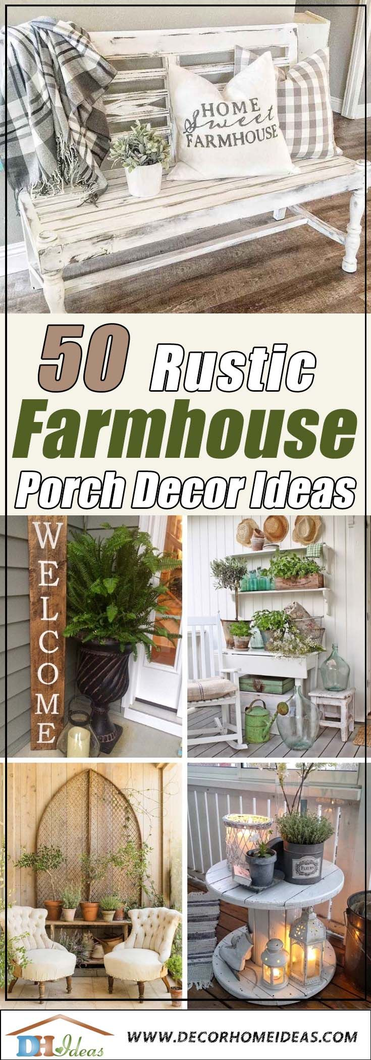 50+ Fantastic Rustic Farmhouse Porch Decor Ideas #rusticporchideas