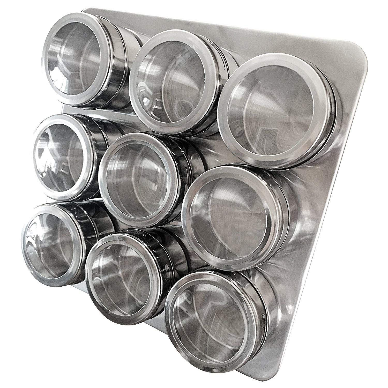 Stand and Wall Mount by Uncluttered Designs Intergalactic Spice Rack Set With Magnetic Jars 9 Tin