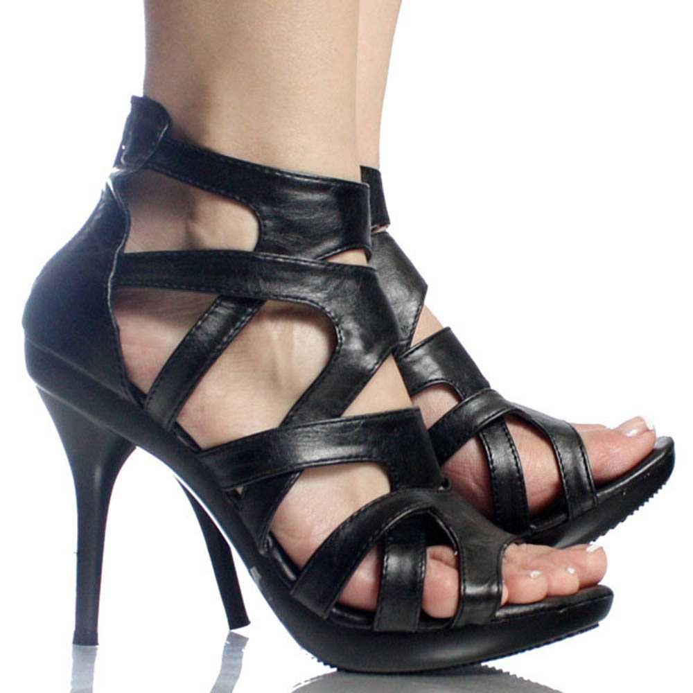 strappy black heels | Black Strappy Gladiator Designer Womens High Heel Platform Shoes ...