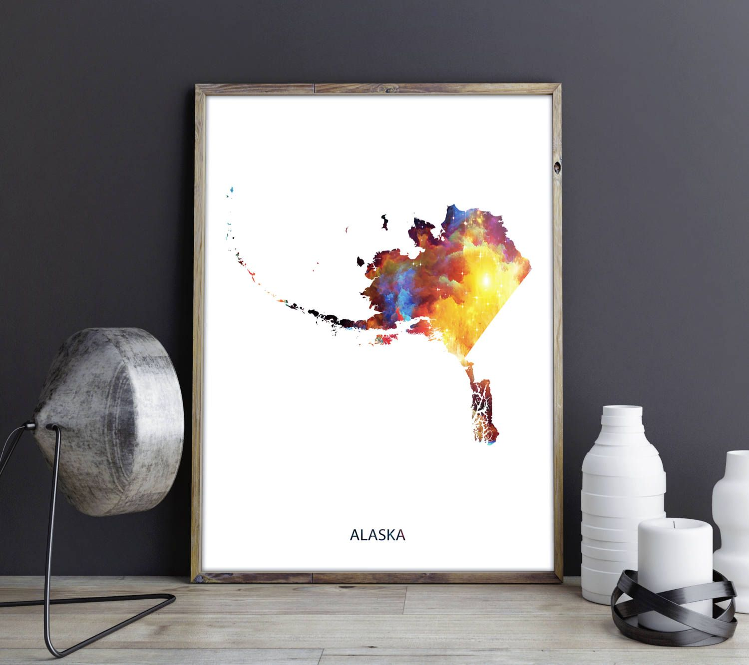 Alaska Art Alaska Wall Art Alaska Decor Alaska Photo Alaska Print Alaska Poster Alaska State Map Chicago Wall Art Chicago Canvas Art Watercolor Map