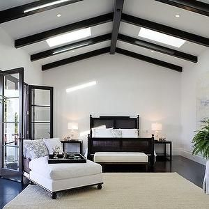 Bedrooms Wall Glossy Black French Doors Black Cane Bed Ebony Box Beams Vaulted Ceiling Cris Spanish Revival Home Home Decor Bedroom Remodel Bedroom