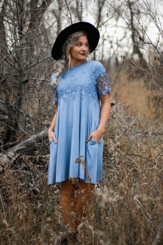 Women's Blue crochet summer floral dress. Beautiful