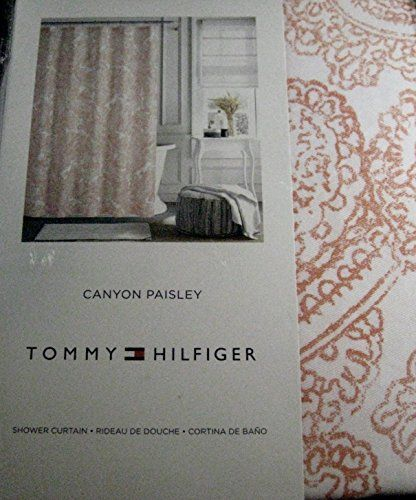 New Tommy Hilfiger CANYON PAISLEY Fabric Shower Curtain 72x72 ~ Coral /& White