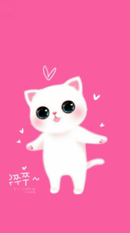 Pink Cute Cat Wallpaper Cartoon