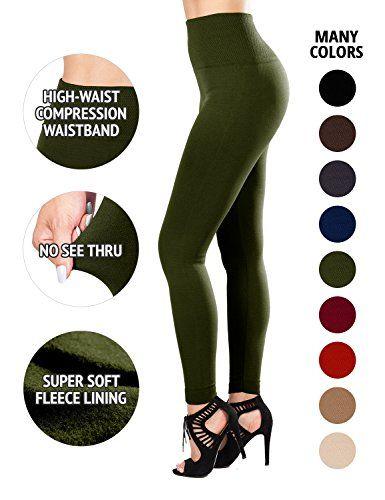 SEJORA Fleece Lined Leggings - High Waisted Slimming Thic…