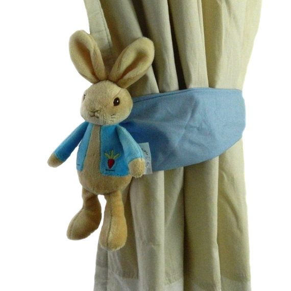 wonderful Rabbit Tie Backs Part - 14: Peter rabbit curtain tie back by Tinytoadcreations on Etsy