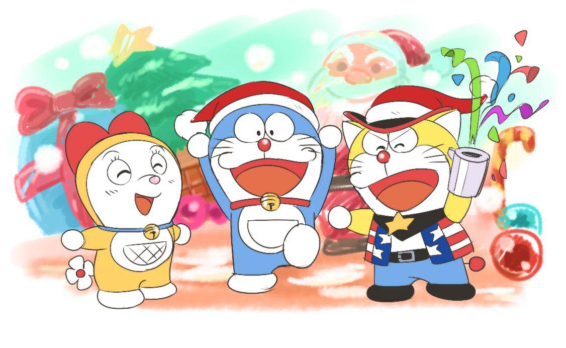 Merry Christmas Doraemon Cartoon Doraemon Cartoon Coloring Pages