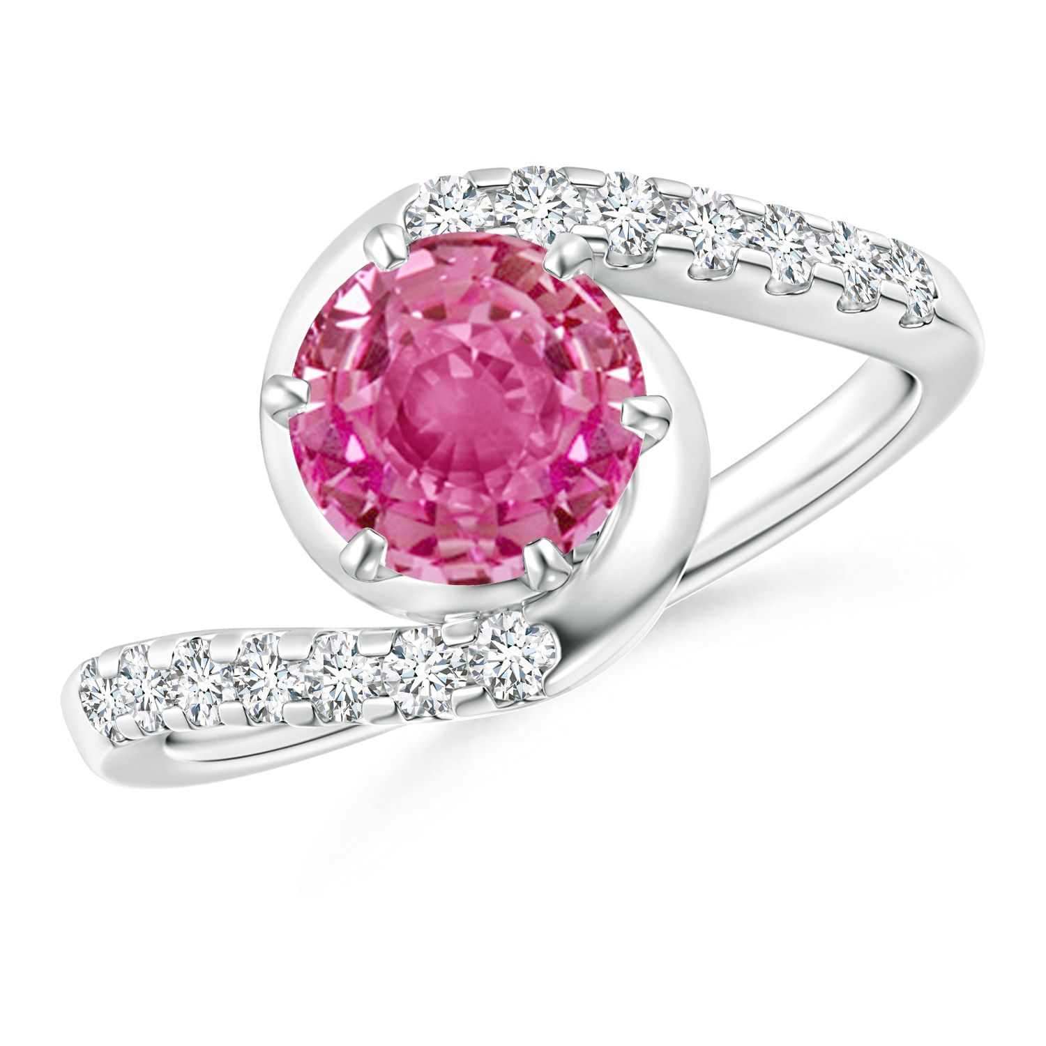 Prong-Set Pink Sapphire Bypass Ring With Diamond Accents