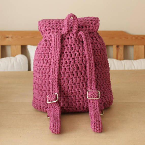 Crochet backpack cotton/handmade/color purple/handmade bag | Crochet ...