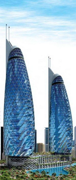 Park Towers at DIFC, Dubai, UAE by Gensler Architects :: 46 floors, height 180m. #doublegerkin