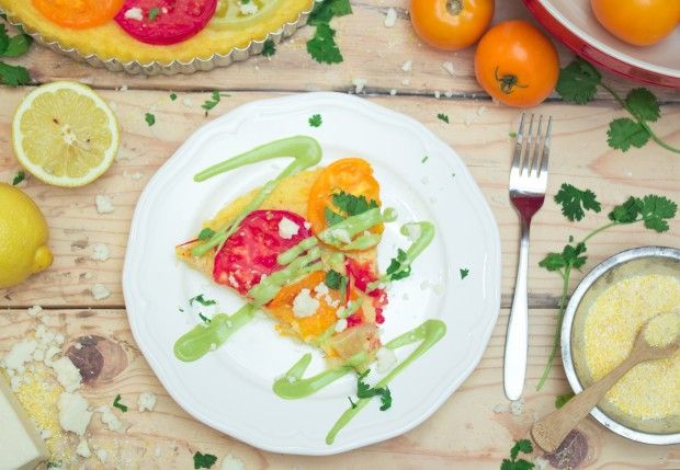 This Polenta Tomato Tart & Avocado Hollandaise Sauce  is the perfect way to indulge in summer heirloom tomatoes. The tart is made with a gluten-free polenta crust and topped off with a vegan Hollandaise sauce made using avocado. You're gonna have a hard time sharing!