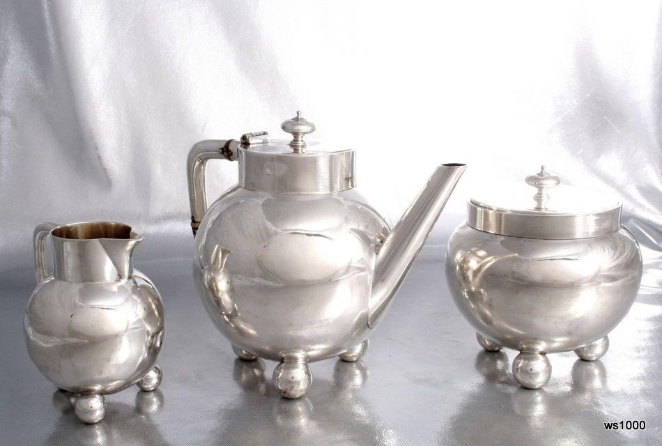 C1878 Arts Crafts Dr Christopher Dresser Tea Set Silver Teapot Barnard