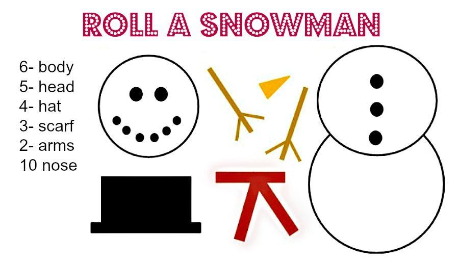 roll a snowman dice game printables games printable christmas rh pinterest com