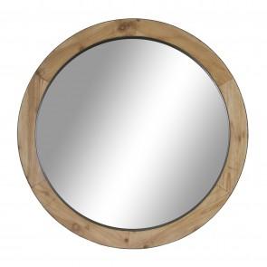 Homeware Bamboo Mirror Geometric Side Table Black Basket