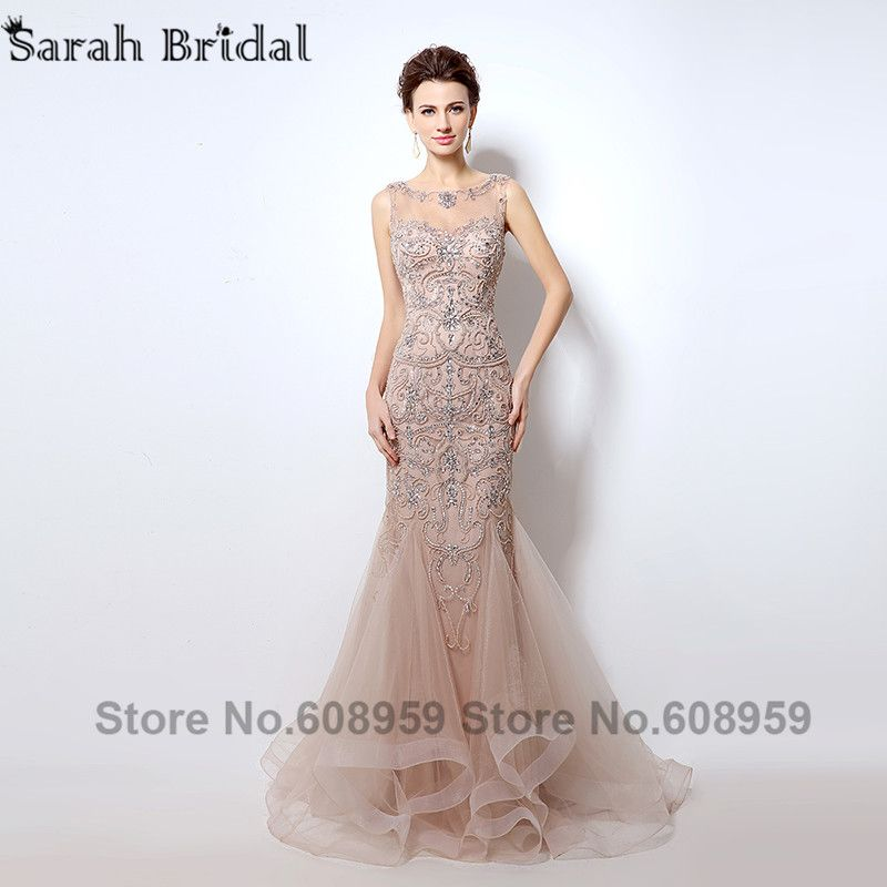 526d6a59f6838 Find More Evening Dresses Information about Luxury Rhinestone Mermaid Dubai Long  Evening Dresses 2017 New Blush Crystal Beading Pearl Sheer Prom Dress Robe  ...