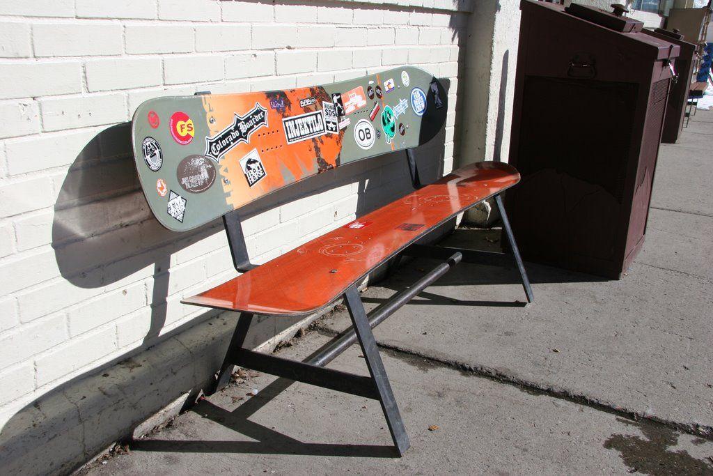 Snowboard Bench Backyard Skateboard Furniture Ski Decor Snowboarding