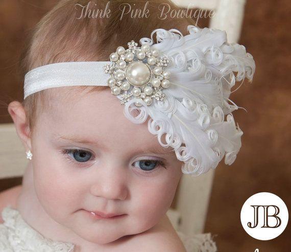 Venda del bebé blanco, diademas de bebé, diadema de plumas blancas, bautismo venda