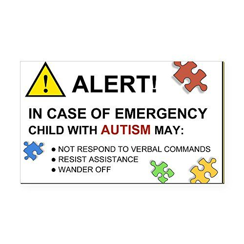 CafePress Autism Emergency Warning Rectangle Car Magnet For - Custom car magnet bumper stickers