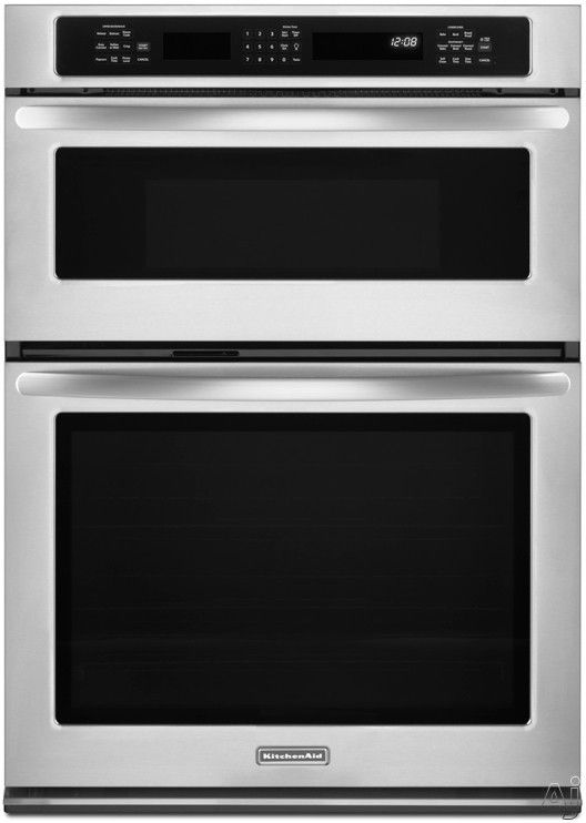 Kitchenaid Kems309b 30 Combination Wall Oven With 5 0 Cu Ft True Convection 1 4 Microwave 900 Cooking Watts Hidden Bake Element And Gl