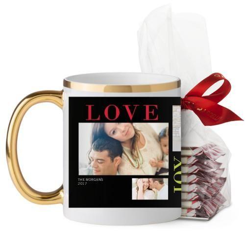 Colorful Love Joy Family Mug, Gold Handle, with Ghirardelli Peppermint Bark, 11 oz, Black