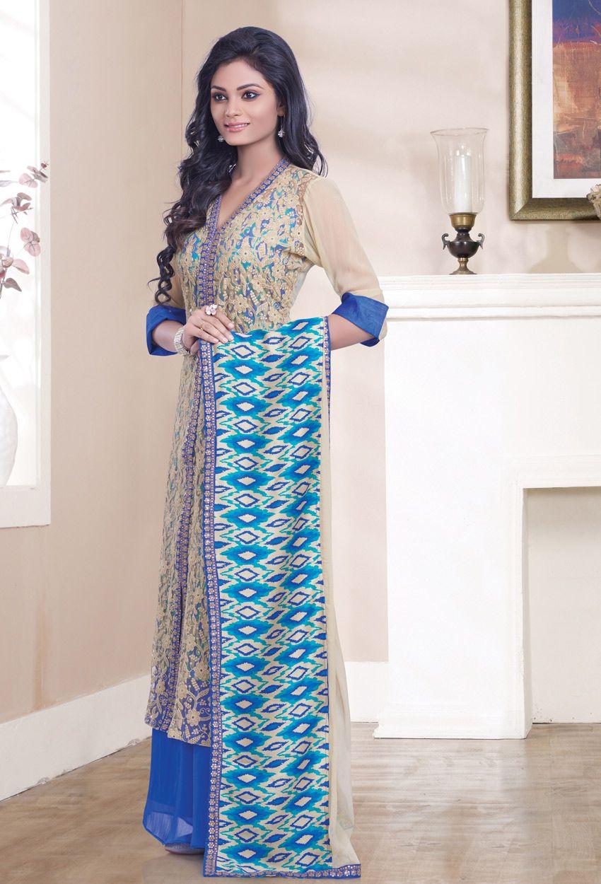 Cream #Georgette #Achkan #Style #Salwar #Kameez #nikvik #usa ...