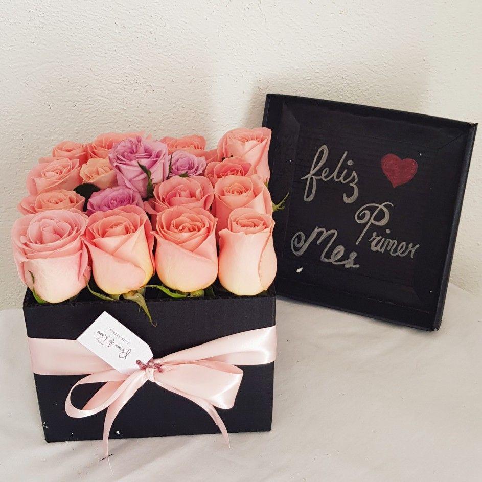Caja De Regalo Con Rosas Con Mensaje Arreglos Florales Diy Regalos Rosas Arreglos Florales En Cajas