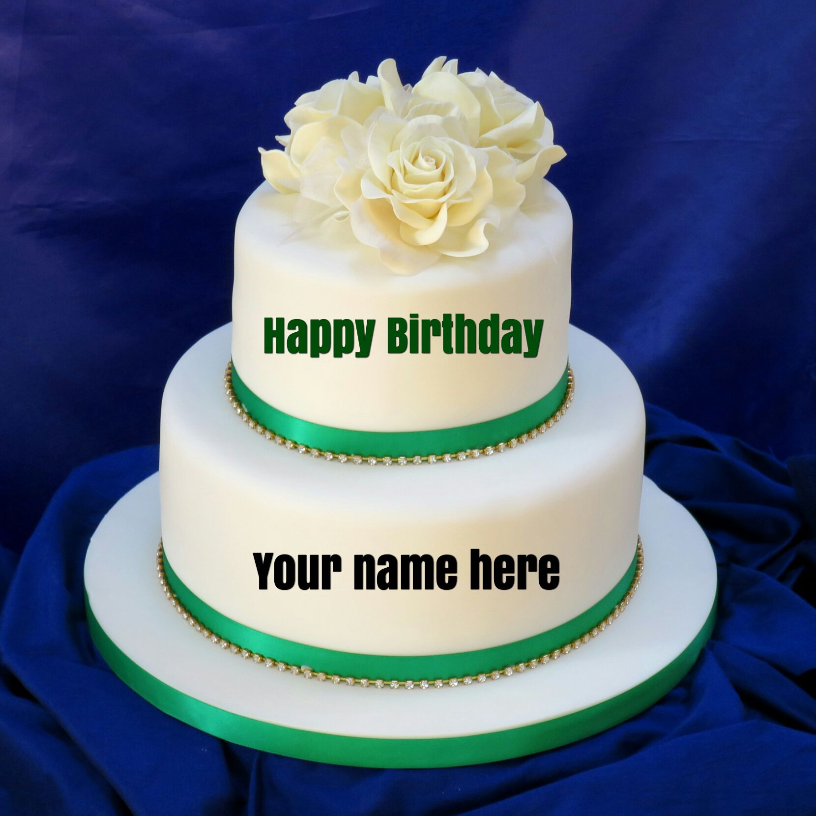 Double Layer Vanilla Birthday Cake With Name For Sisterget Name On