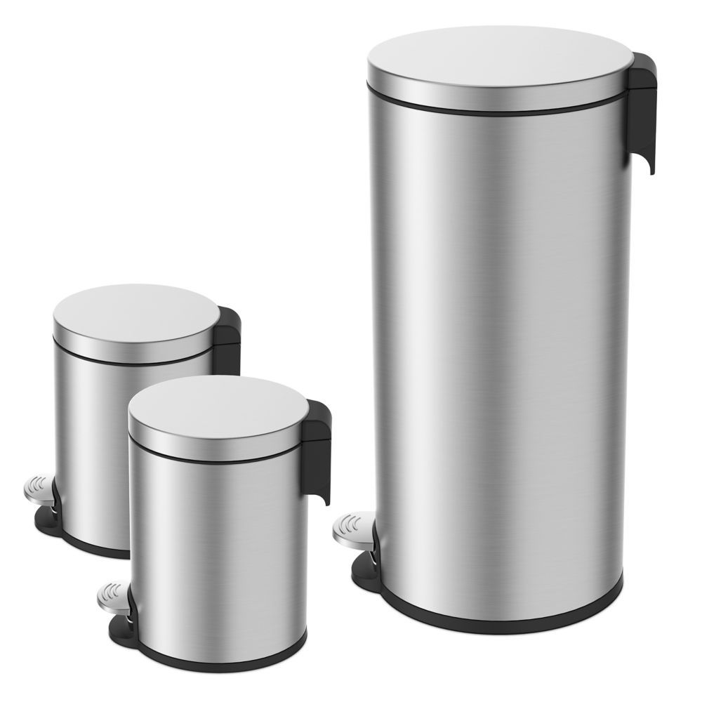 38l And 5l Stainless Steel Step Trash Can Set 3 Piece Canning