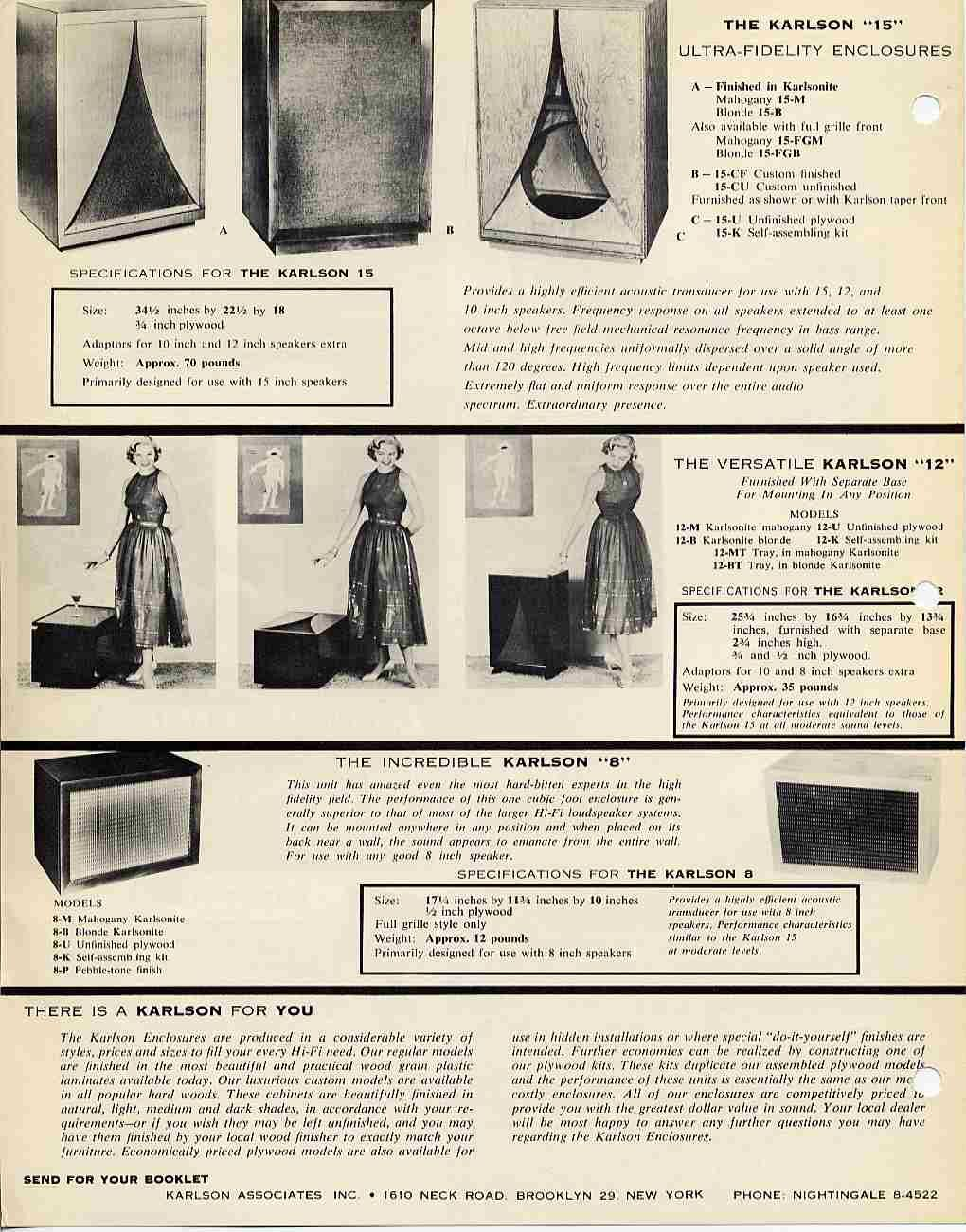 Ad for Karlson speaker enclosures, which were probably the worst sounding designs ever successfully foisted onto the buying public.