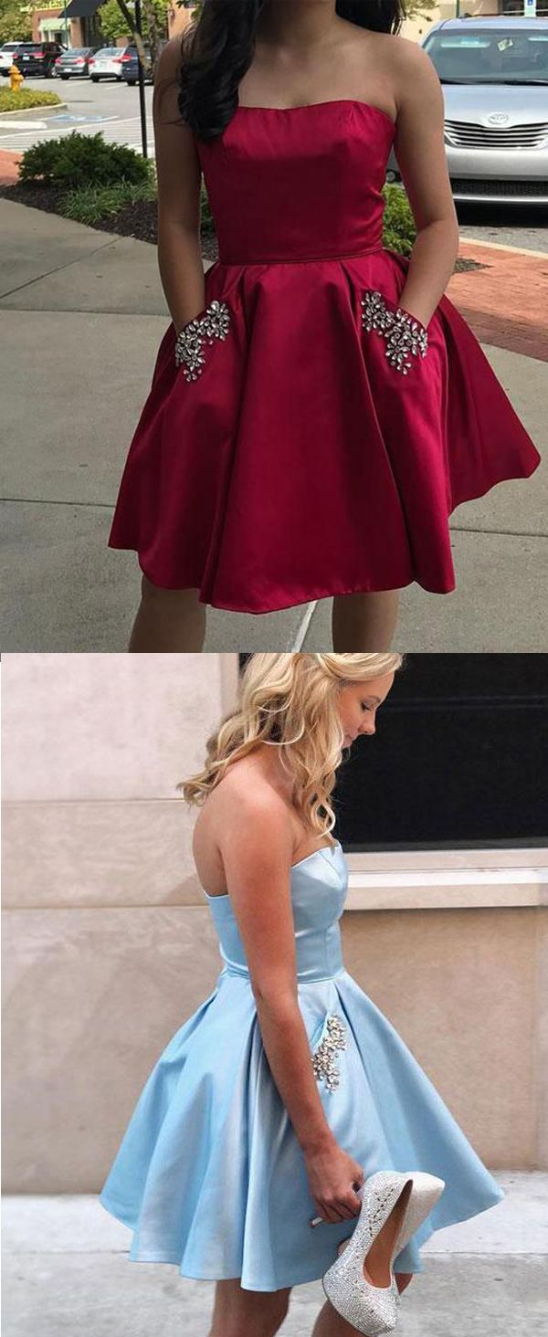 Simple strapless cheap beaded dark red homecoming dresses with