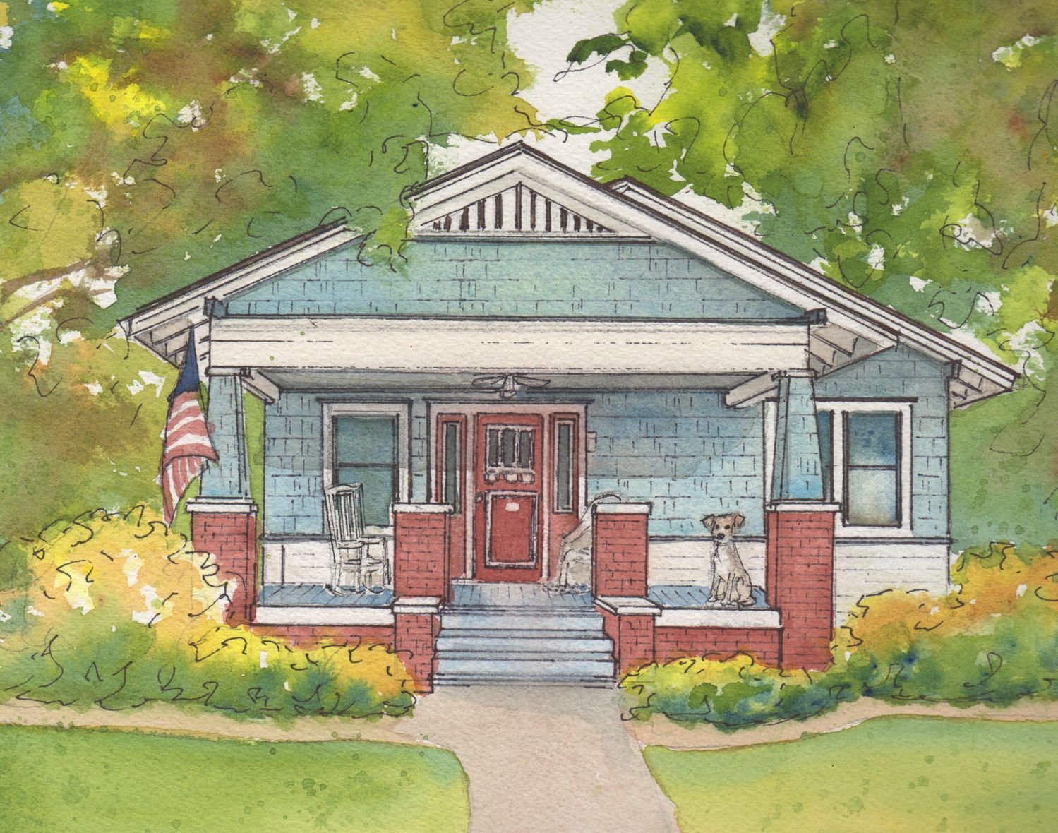 Watercolor House Sketch 5 X 7 Matted Personalized House Portrait