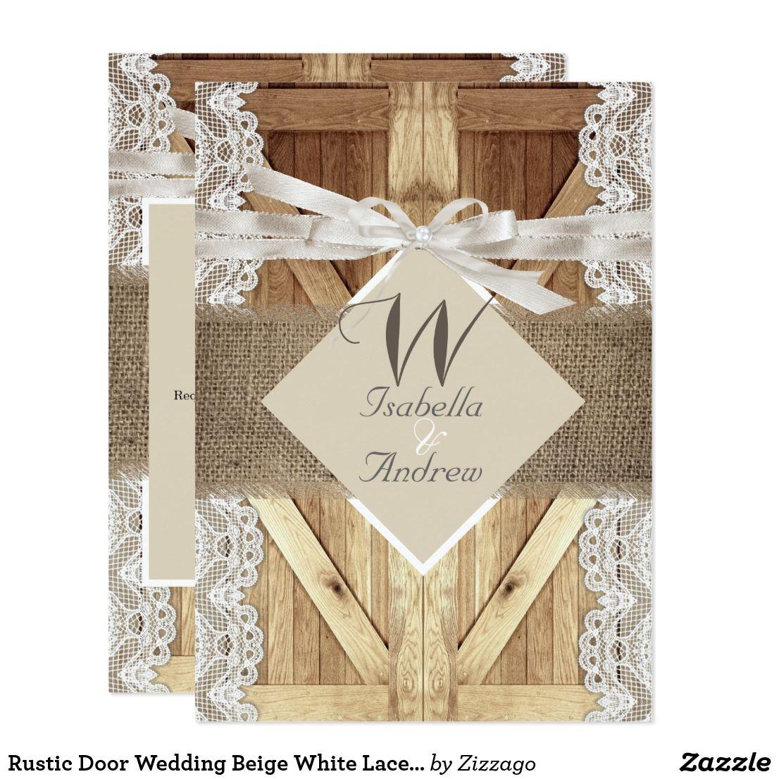 Rustic Door Wedding Beige White Lace Wood Burlap Card Wooden Barn And Hessian Country Marriage: Wedding Invitations Barn Door At Websimilar.org