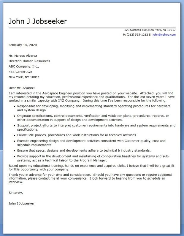 Aerospace Engineer Cover Letter Sample Creative Resume Design - recruiter cover letter