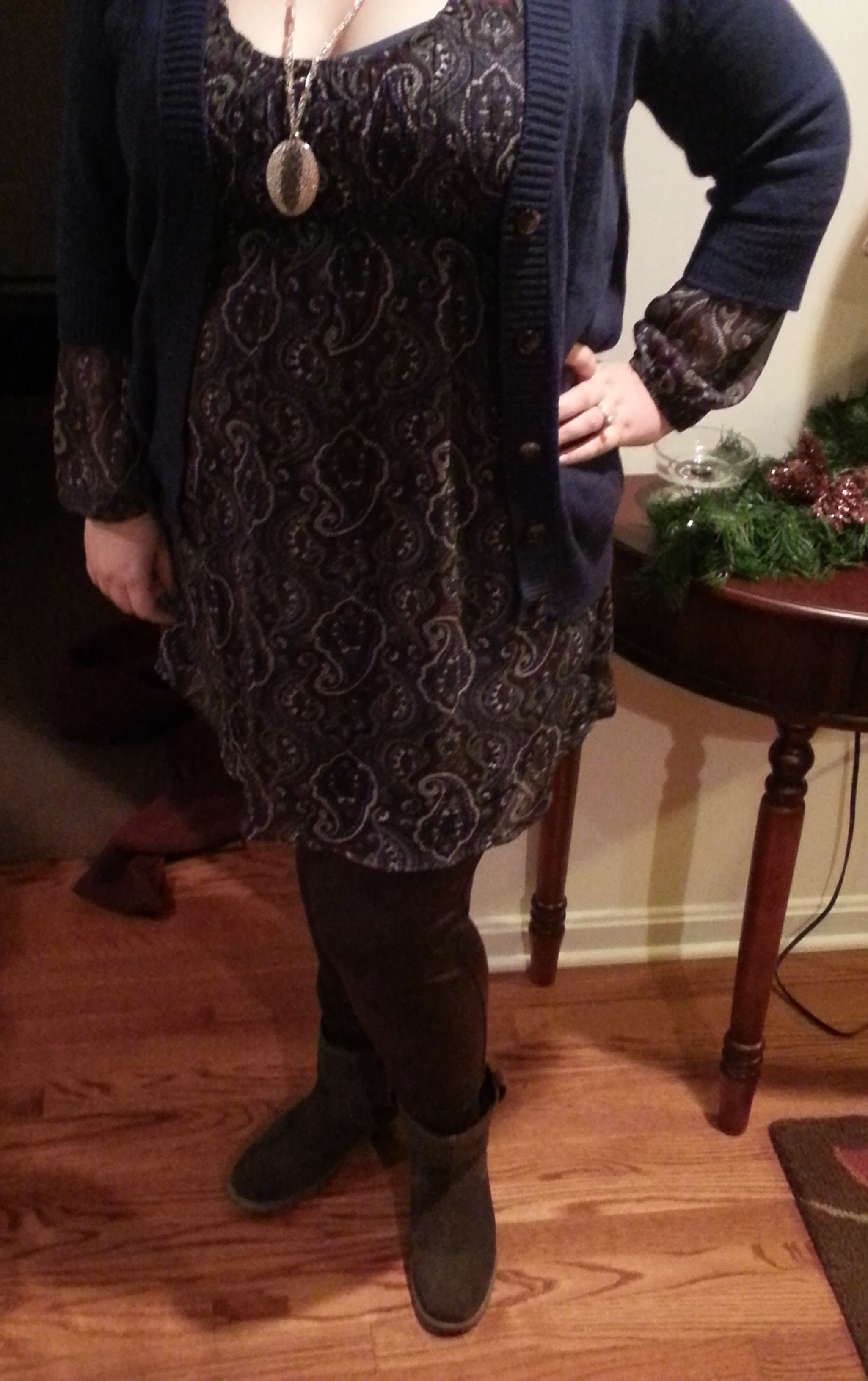 Target blue, brown, white and purple paisley dress; Old Navy blue ...