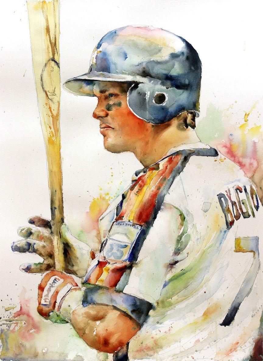 Watercolor art galleries in houston - Craig Biggio Watercolor Painting Houston Astros Richard Sullivan Sports Watercolor Watercolor