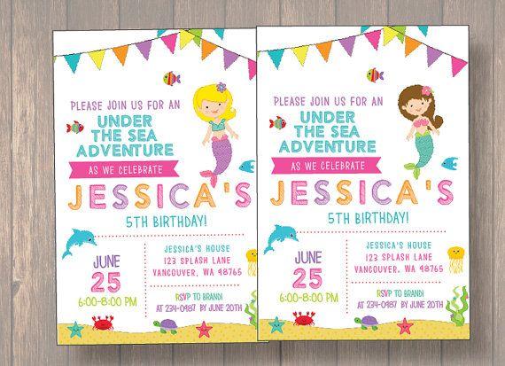 Mermaid Birthday Invitation Under The Sea Invite Girl Party