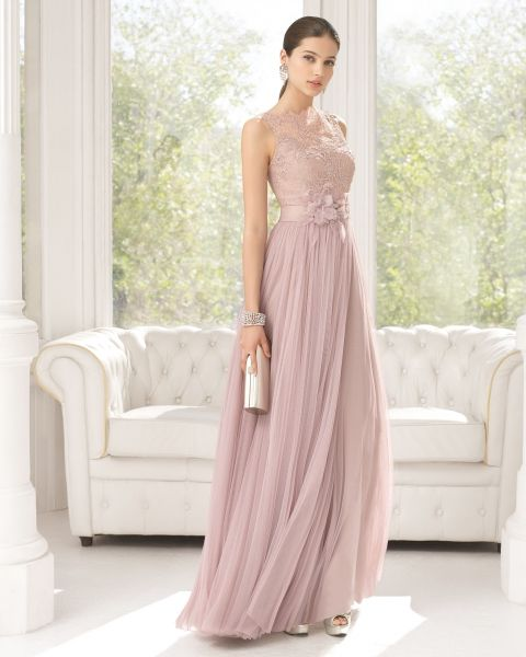 60% de liquidación disfruta del precio de descuento estilo máximo Traje de fiesta de tul sedoso, encaje y pedrería color rosa ...