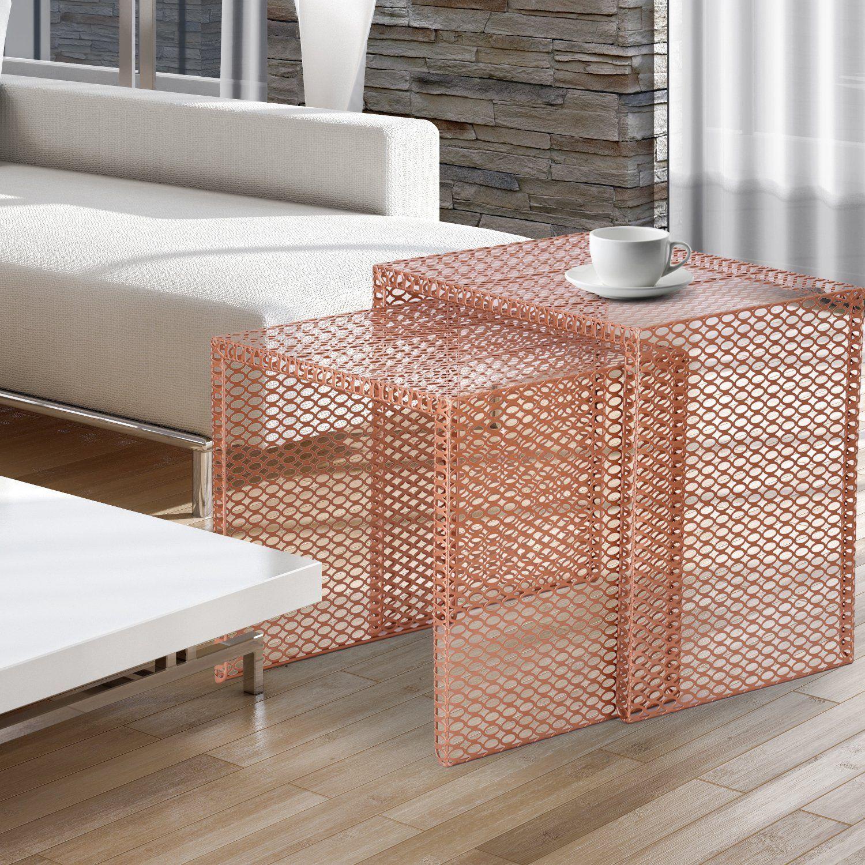 Amazoncom Adeco Luxury Modern Designed Copper Golden Metal Nesting