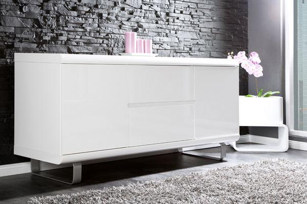 design sideboard spacy weiss hochglanz und eiche 2 t ren 2 schubladen bei riess ambiente. Black Bedroom Furniture Sets. Home Design Ideas