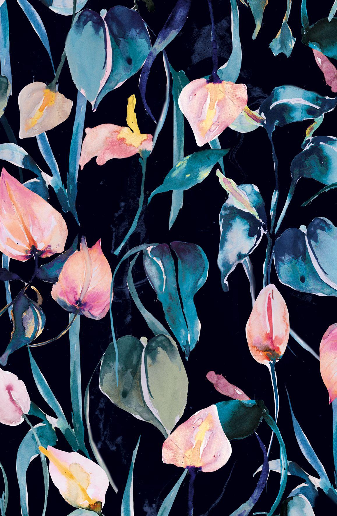 Nikki Strange Night Lilies Darkflorals Tumblr Pattern Prints