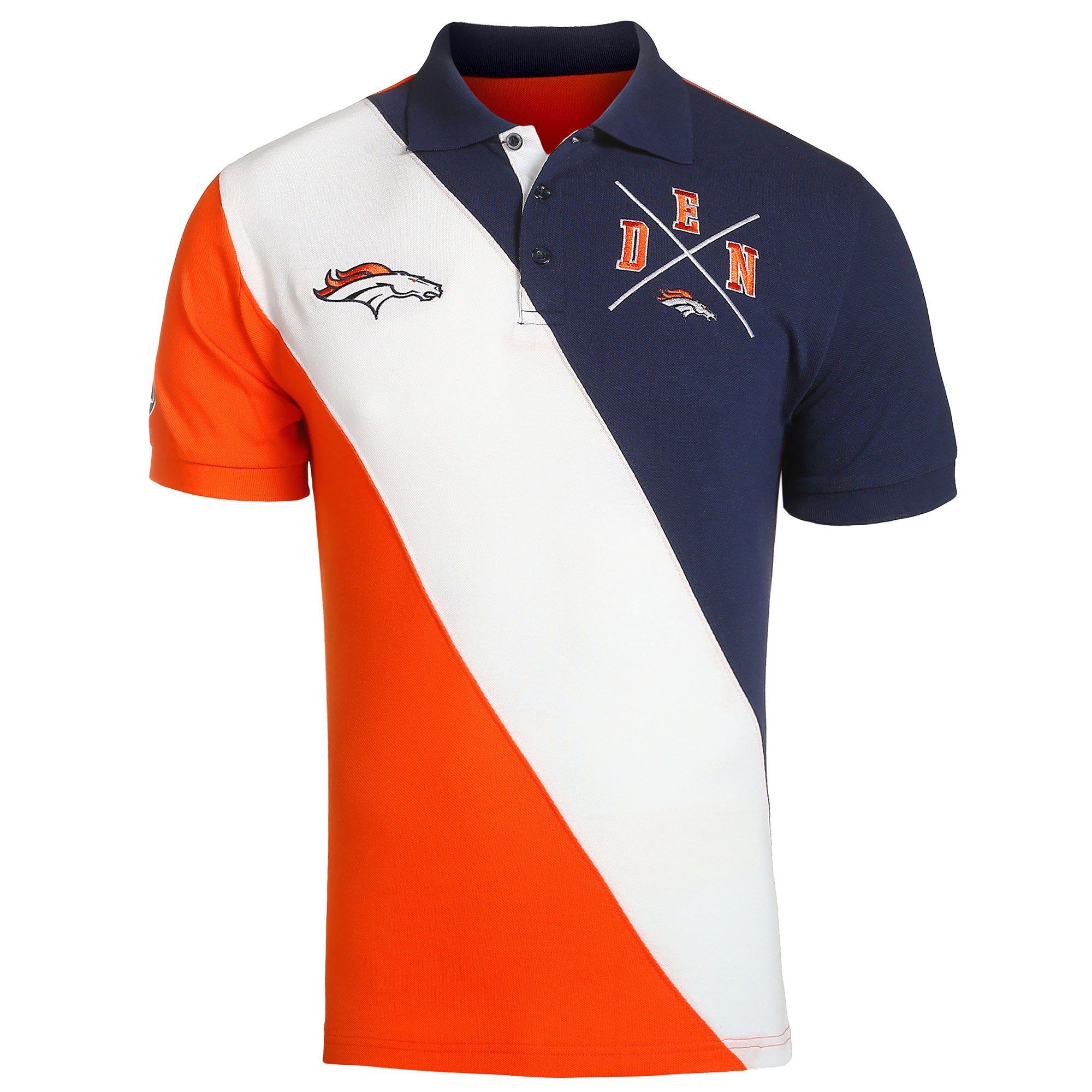 993884a5 NFL Denver Broncos Klew Diagonal Stripe Rugby Polo - Navy/Orange ...