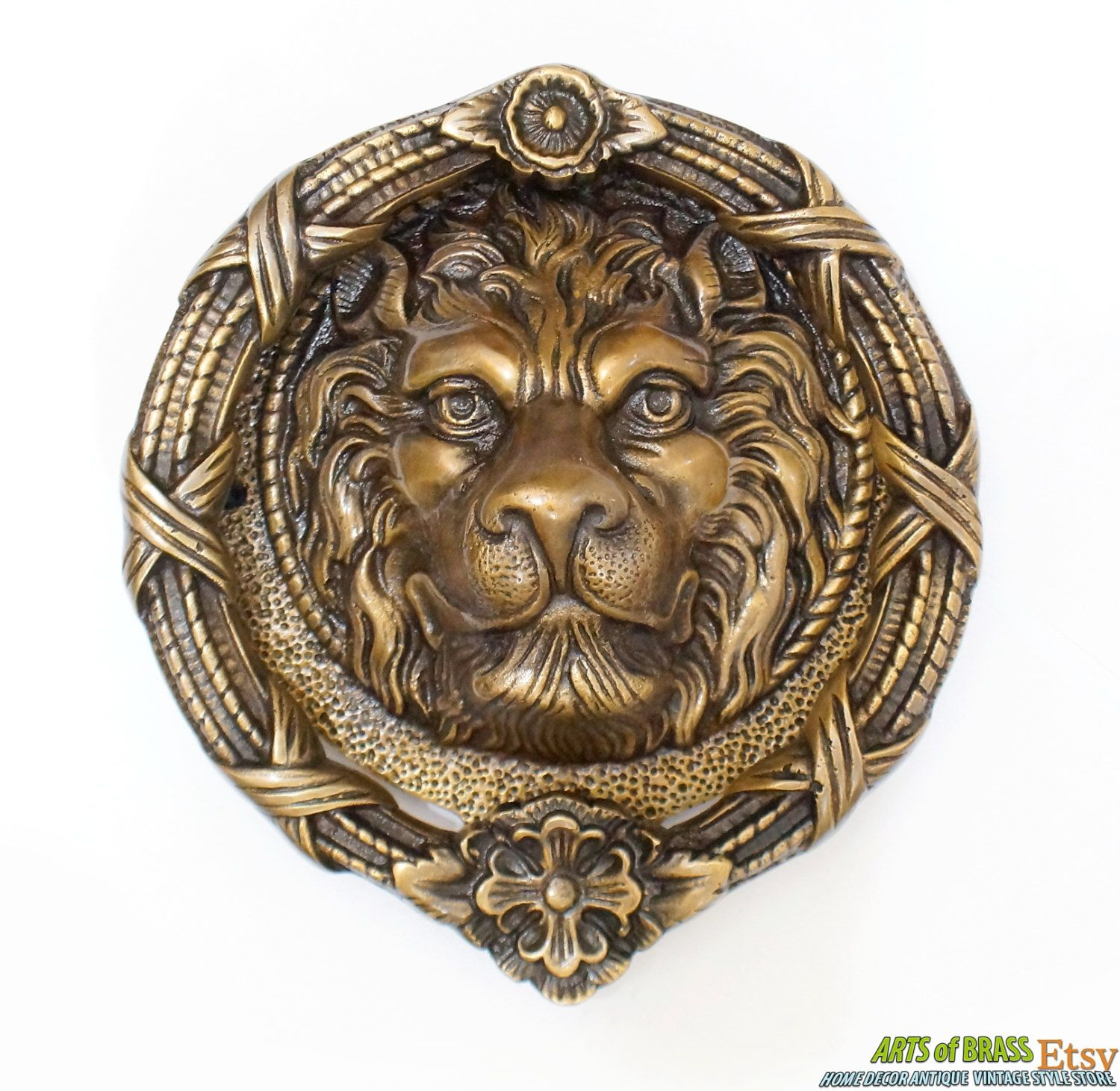 7 50 Inches Vintage Solid Brass Large Lion King Head Front Door Knocker With Flower Crown Front Door Knocker P158 In 2020