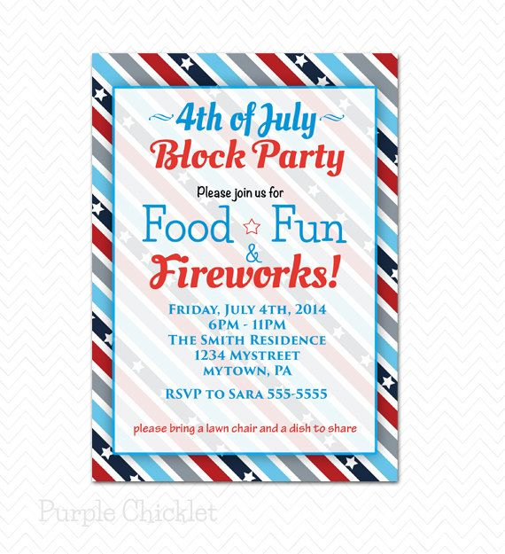 Block Party 4th Of July Invitation Patriotic Red White And Blue Independance Day Party Star Block Party Invitations Party Invite Template Patriotic Invitations