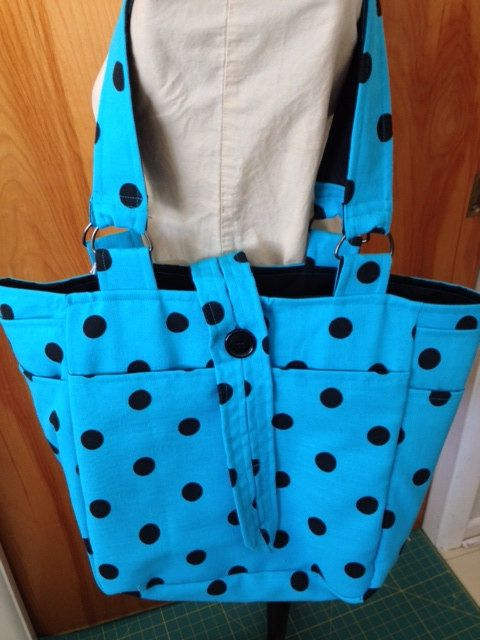 "Upcycled Repurposed Recycled Ladies Suit Coat Tote ""Teal We Dot Again"" by pinkamingo, $55.00"