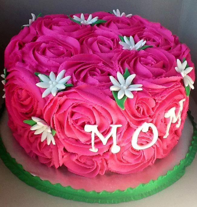Awesome Rose Cake Birthday Cake For Mom Mom Cake Rose Cake Personalised Birthday Cards Arneslily Jamesorg