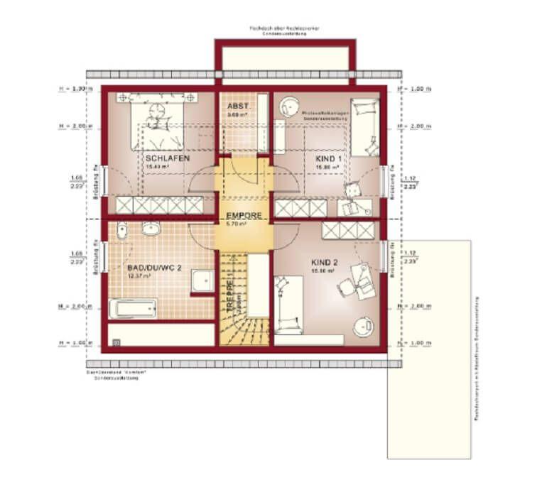Grundriss Haus Solution 151 V4 Living Haus Dachgeschoss 4 Zimmer